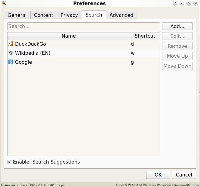 Otter Browser, настройка поисковых движков