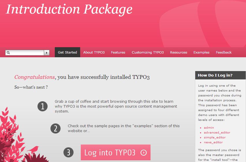 TYPO3 готово к использованию