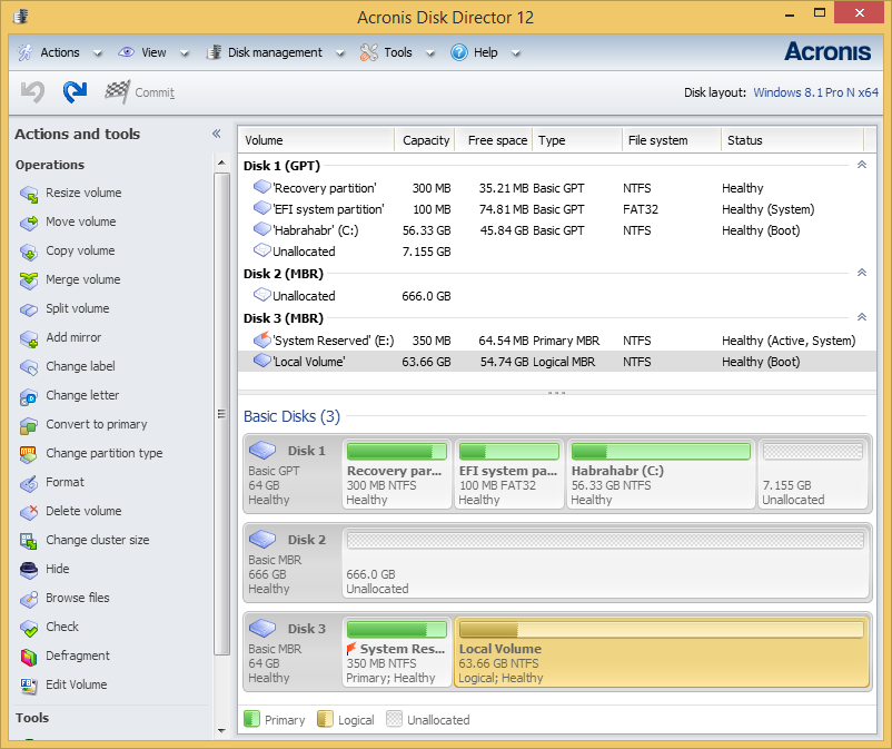 Acronis disk director ext4