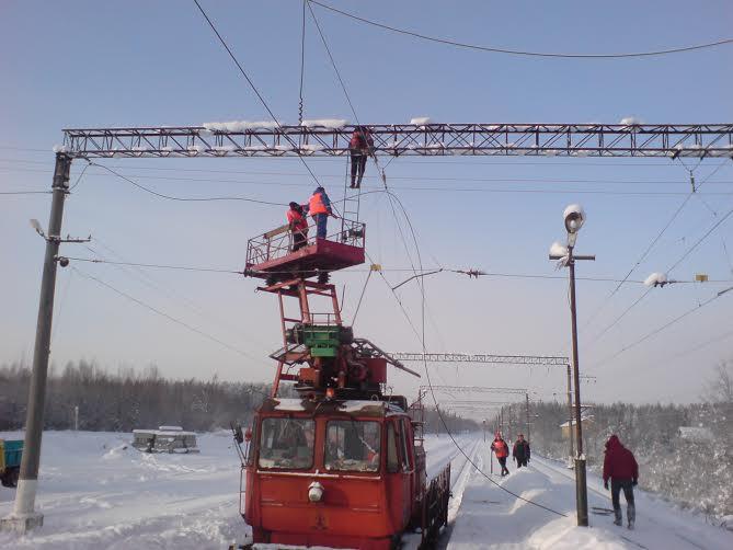 Прокладка кабеля по опорам контактной сети железной дороги.
