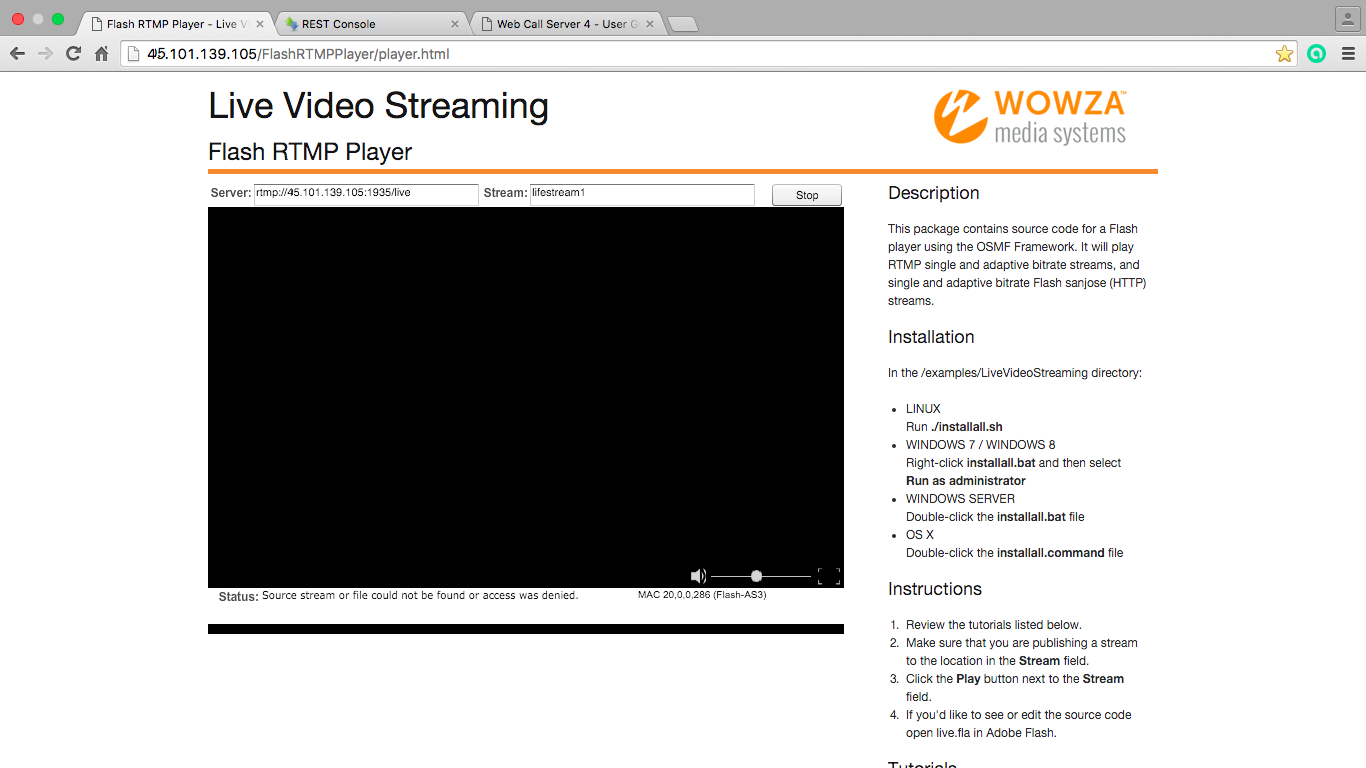 The resulting broadcast in the Flash Player window