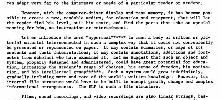 50 years ago today the word «hypertext» was introduced