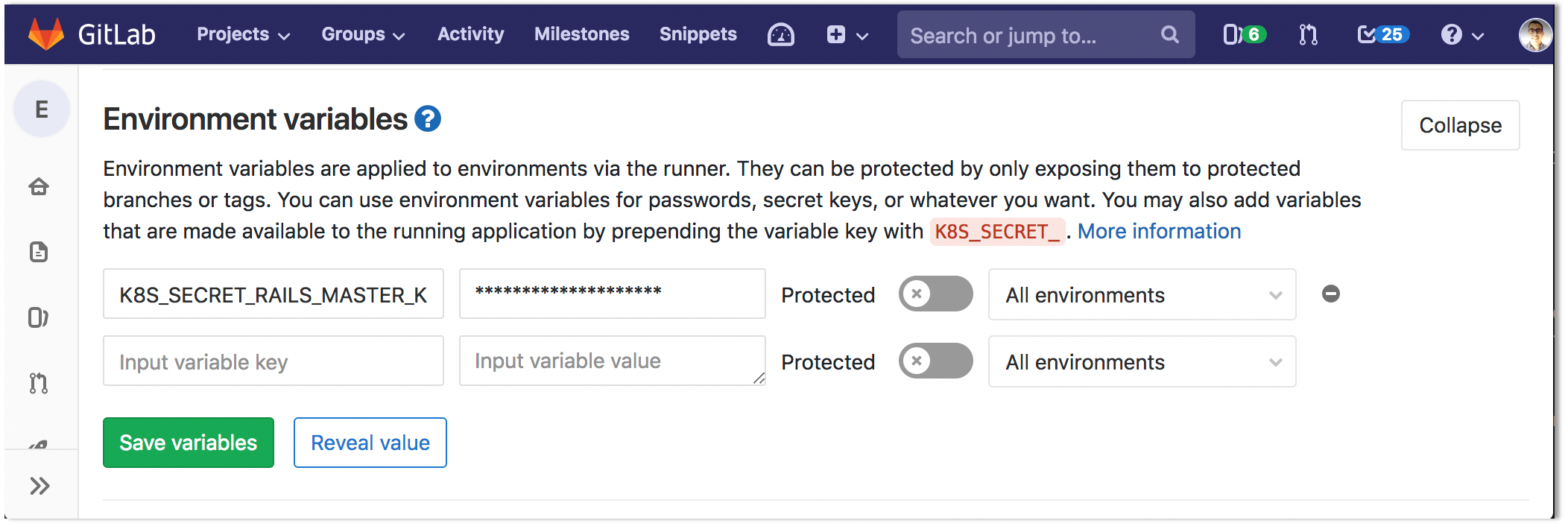 Configure Kubernetes app secrets as variables