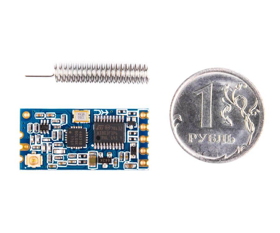 Приемопередатчик HC-12 и датчик температуры DS18b20 на AVR-ассемблере