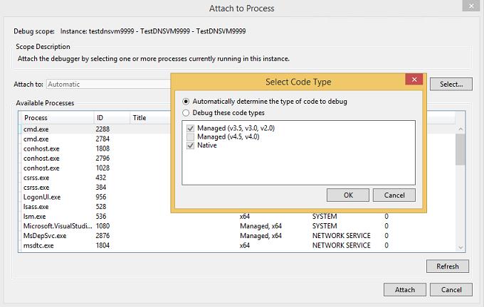 Select code type dialog box