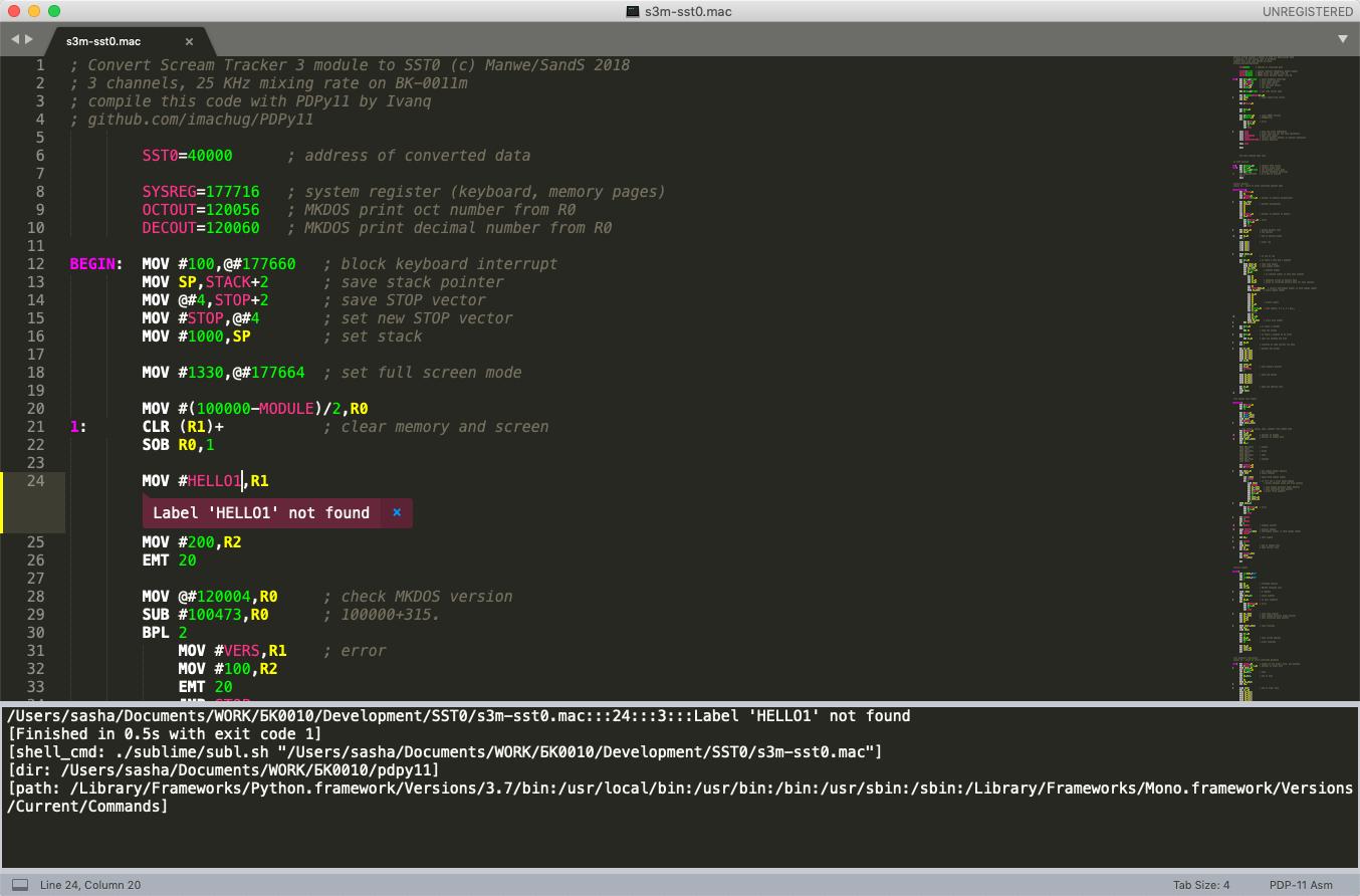 Компиляция из Sublime Text кросс-ассемблером PDPy11