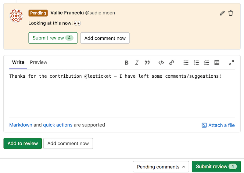 Add standalone comments to merge request reviews