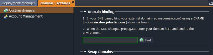 Jelastic Domain Binding
