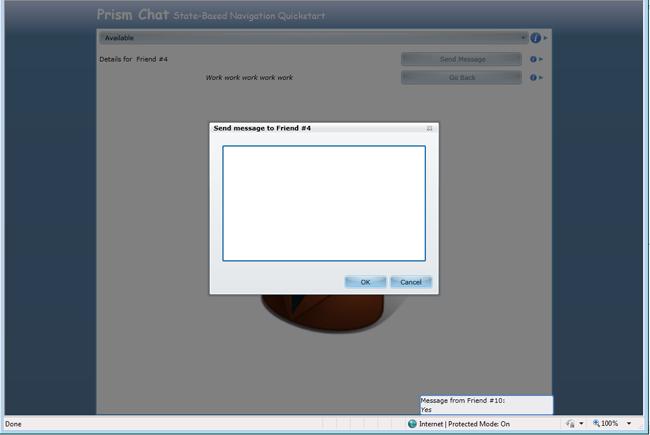 Взаимодействие с пользователем с помощью всплывающих сообщений в State-Based Navigation QuickStart