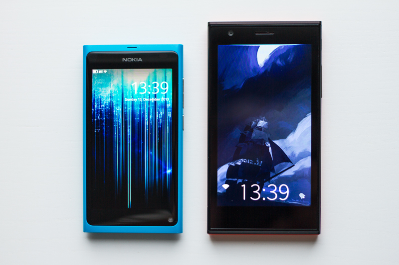 The new Jolla is larger than the N9 and has a more angular design.
