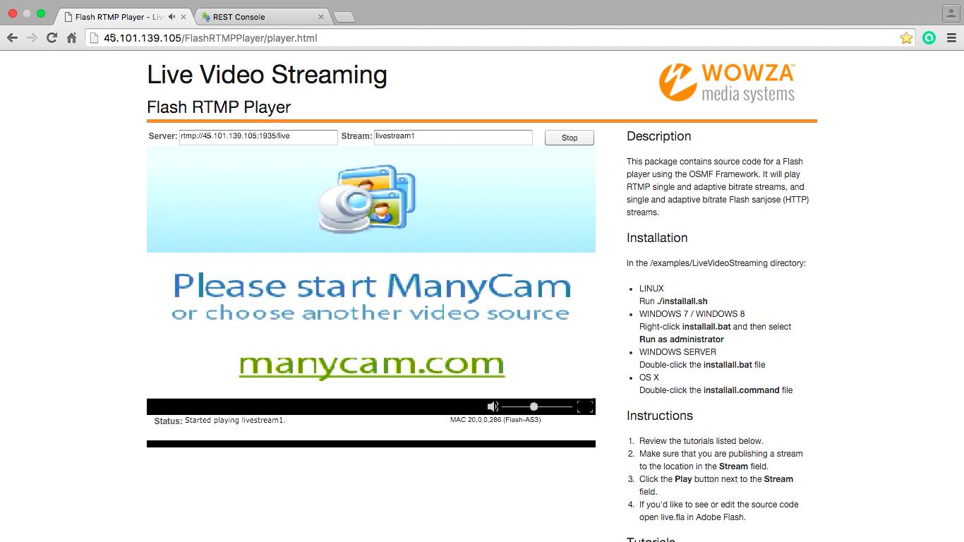Перевірочне відео в Flash Player отримане через сервер потокового мовлення після запиту від Web Call Server до Vidyo