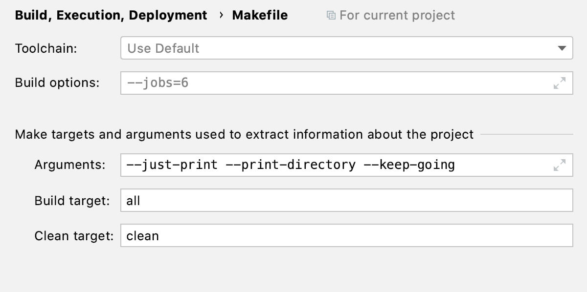 Makefile options