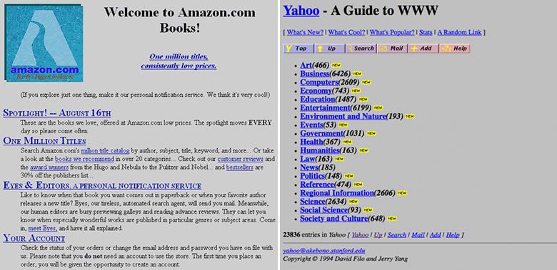 Yahoo! і Amazon, 1995