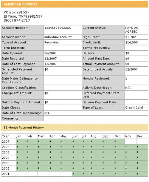 Рисунок 2: Подробная схема кредитной линии в потребительском отчете, включающая информацию о истории платежей