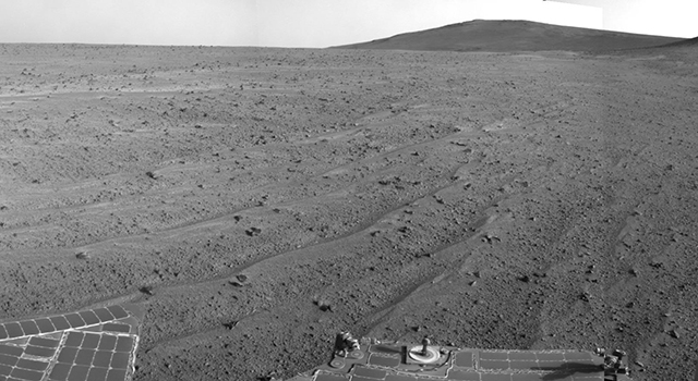 Opportunity's Rear-Facing View Ahead After a Drive