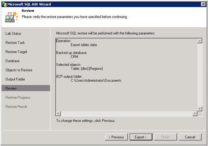 Рис. 10. Universal Application‑Item Recovery (Универсальное восстановление объектов приложений): Восстановление таблиц из резервной копии Microsoft SQL Server