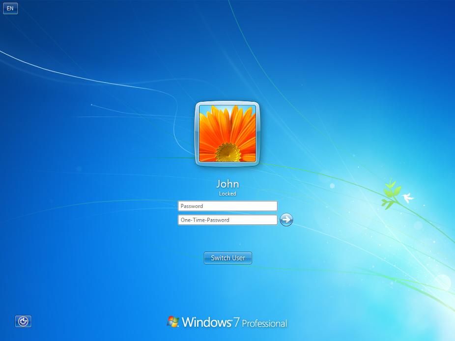 Привязка дополниельных одноразовых паролей к окну входа Windows