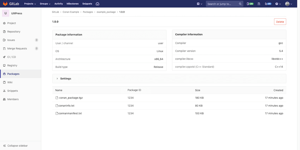 Manage C/C++ packages via Conan within GitLab's Package Registry