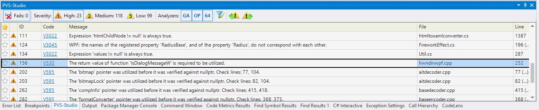 Рисунок 1. В окне PVS-Studio одновременно отображаются предупреждения, относящиеся как к C#, так и C++ коду проверенного проекта.