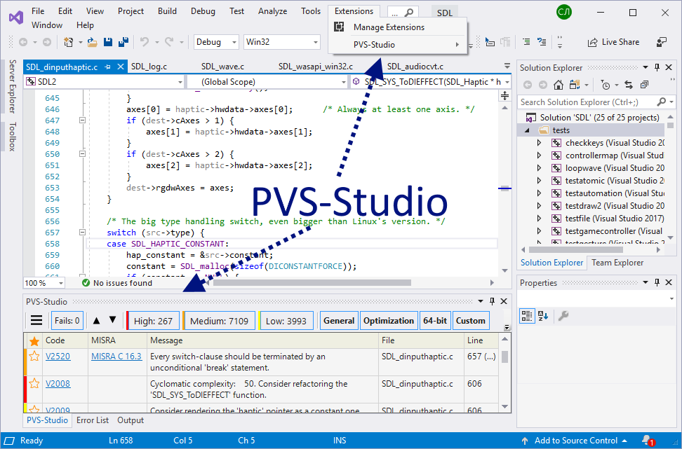 Figure 2. The main items that the PVS-Studio analyzer adds when integrating into Visual Studio.