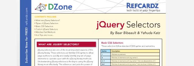 jQuery Selectors – Refcardz