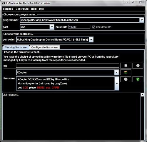 Quadrocopter Firmware flash