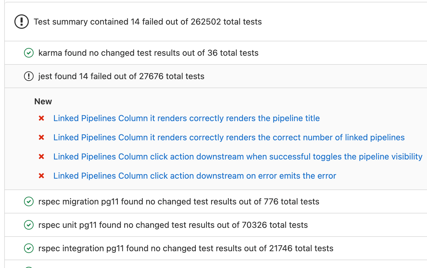 Merge Request test summary usability improvements