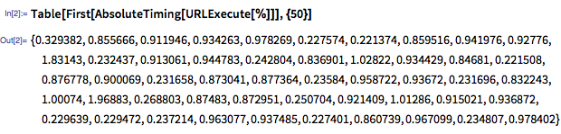 In[2]:= Table[First[AbsoluteTiming[URLExecute[%]]], {50}]