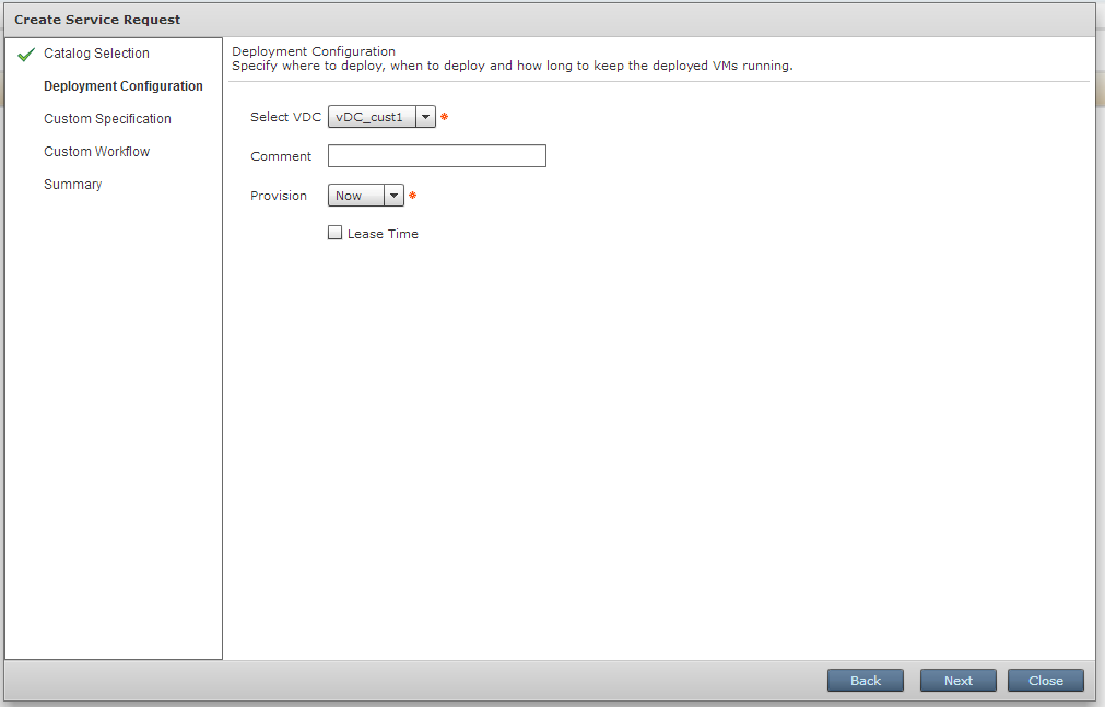 Choosing an Available vDC and Virtual Machine Deployment Time