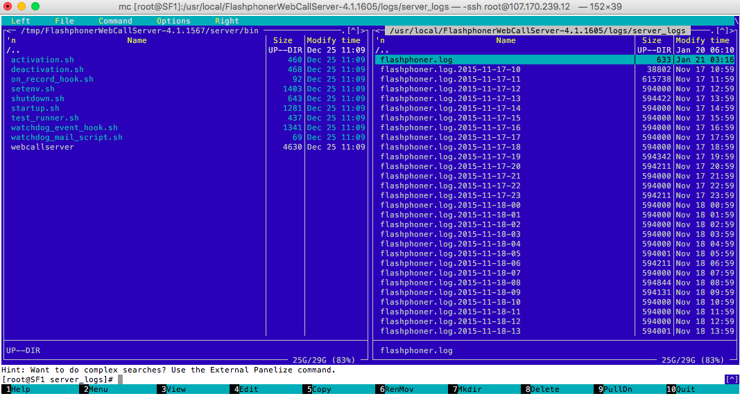 Log file Web Call Server'a