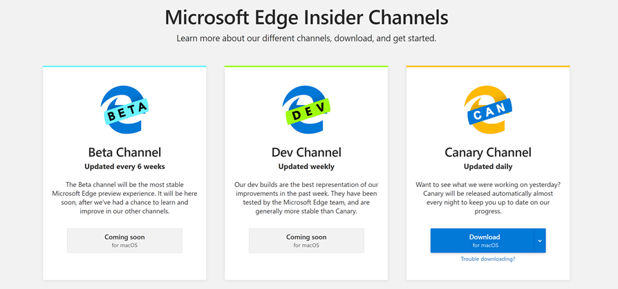 Screen capture of microsoftedgeinsider.com showing the three Insider Channels