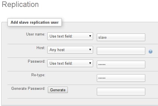 имя и пароль для подчиненного пользователя