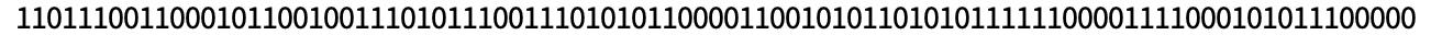 Row[CellularAutomaton[30, {{1}, 0}, {90, {{0}}}]]