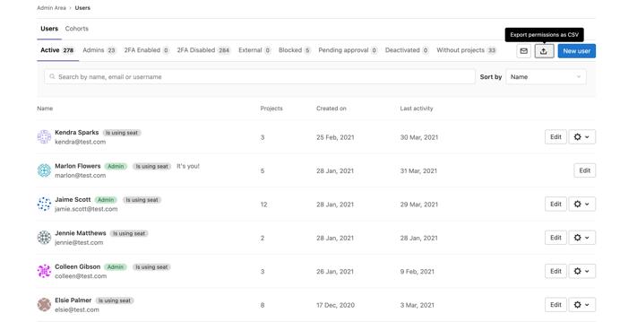 Export a user access report