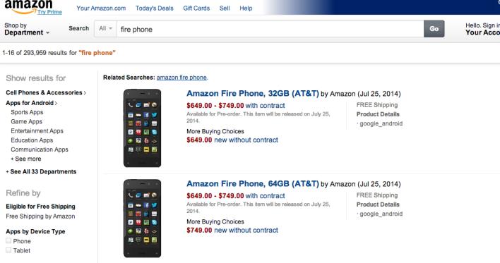 Амазон представил свой смартфон с 6 камерами Fire Phone