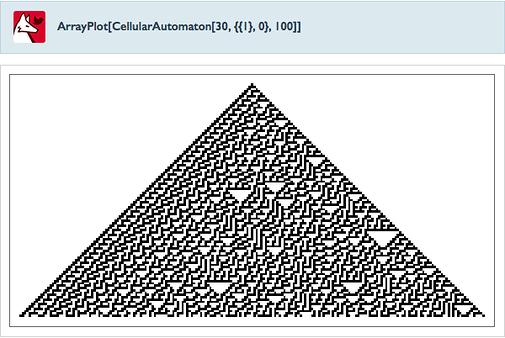 ArrayPlot[CellularAutomaton[30,{{1},0},100]]