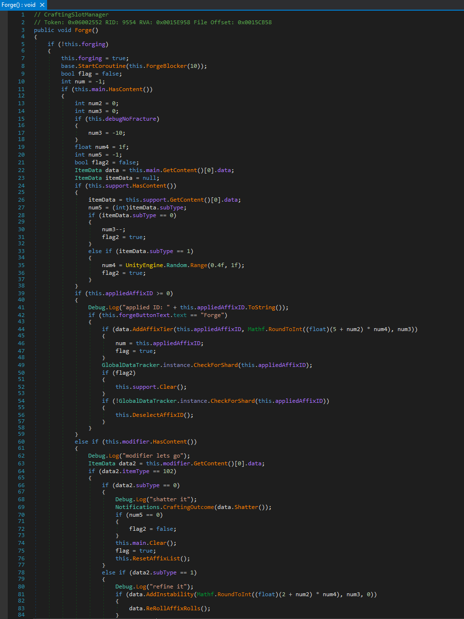ndSpy x CraftingSlotManager.Forge()