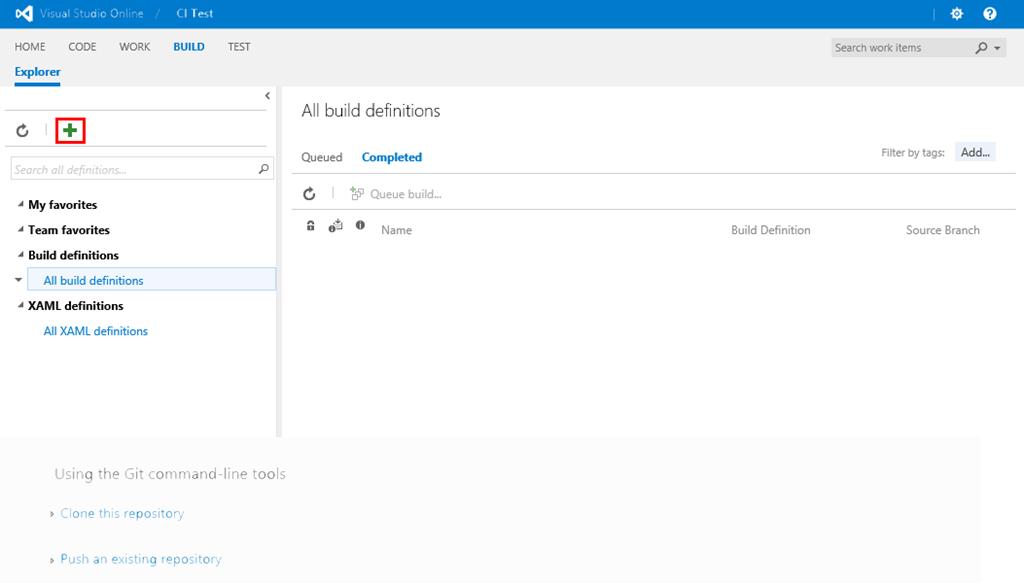 Visual Studio Online Build Definition