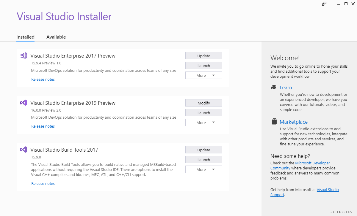 Visual Studio Installer image showing VS 2017 and VS 2019 installed side-by-side
