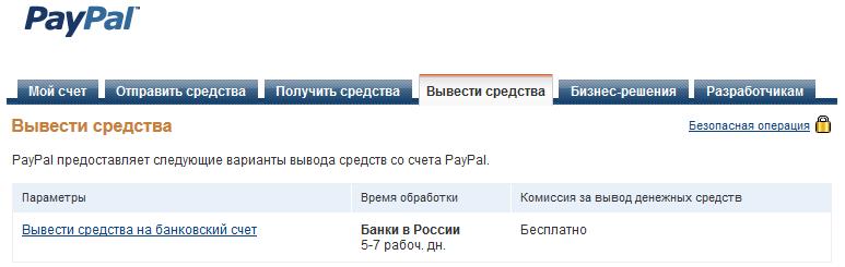 обратно на счет PayPal,