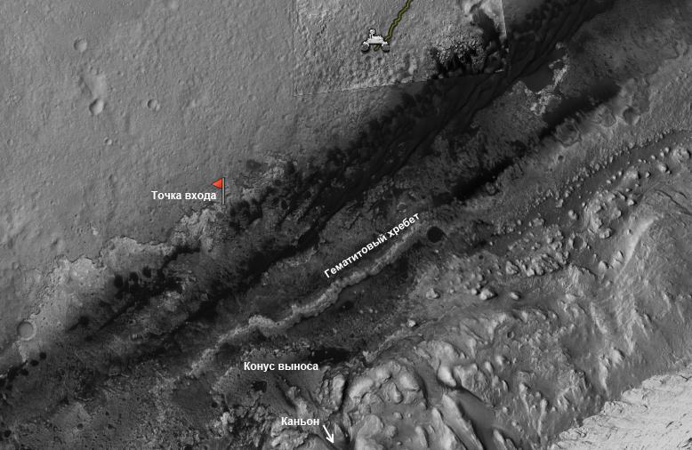 Марсоход Curiosity пробурил подножие горы