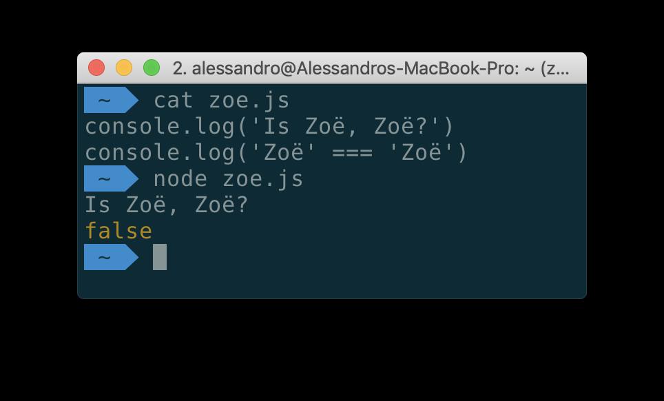 Когда «Zoe» !== «Zoe», или почему нужно нормализовывать Unicode-строки