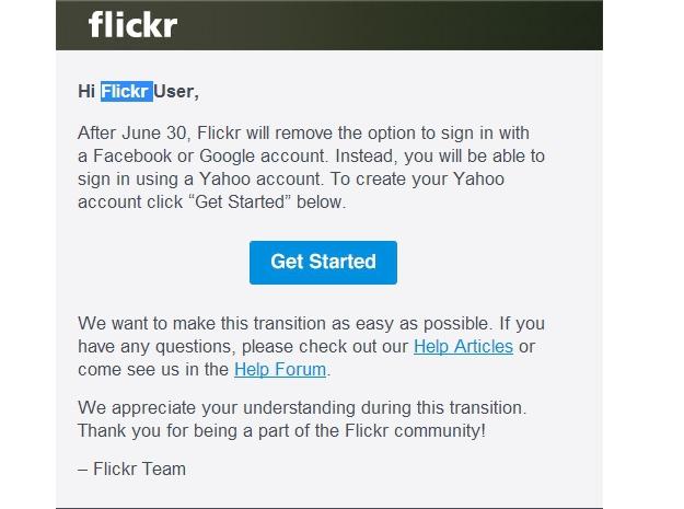 Yahoo наносит ответный удар: Flickr отключает логин через Google и Facebook