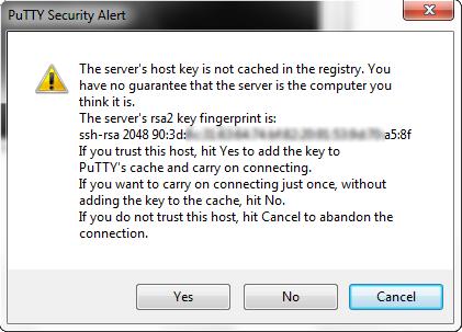 Предупреждение, о отсутствии в кеше слепка ключа сервера