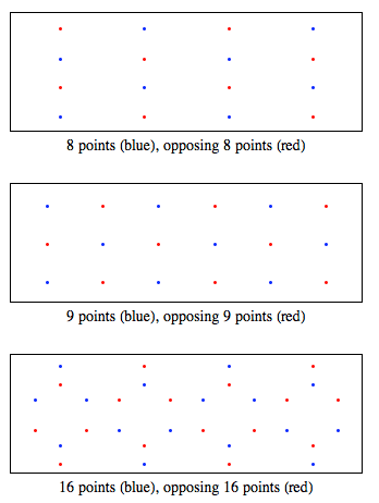Sphere point picking for solutions with 8, 9, and 16 points