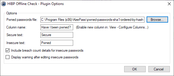 KeePass password check integration with leakage database