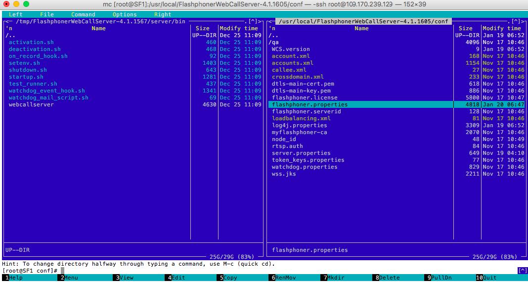 Консоль з папкою де розташований конфігураційний файл Web Call Server