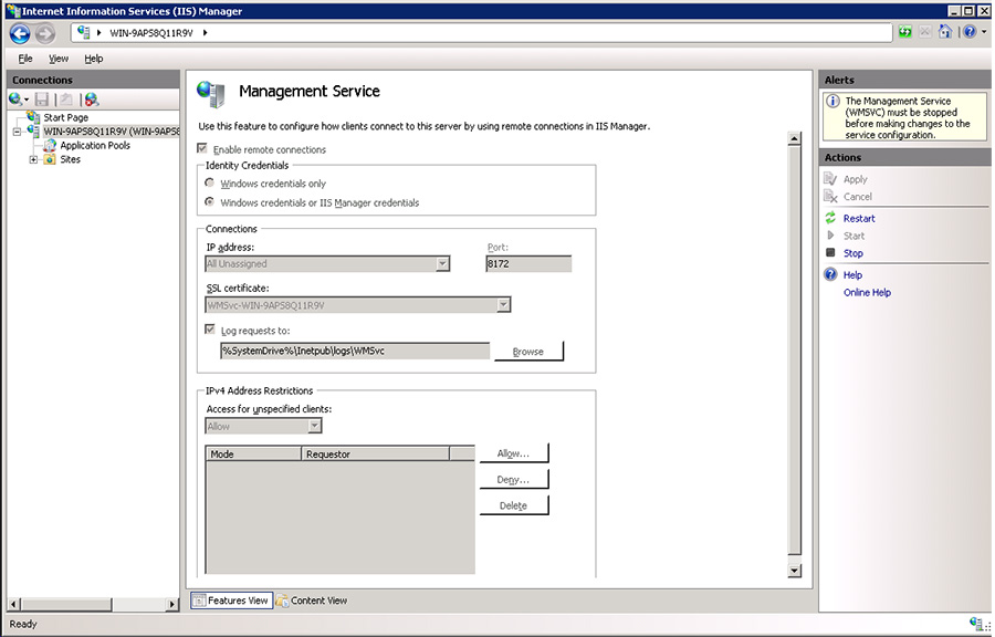 IIS Management Service