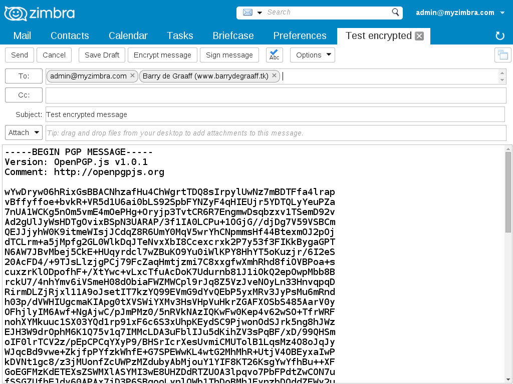 We add letter encryption and electronic signature to Zimbra / Sudo