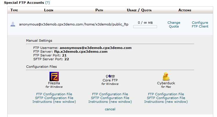 Подсказки по настройке FTP клиента в cPanel